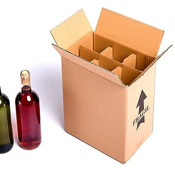 (15x) Caja para botellas de vino CON separadores de cartón rejilla | TELECAJAS (Para 6 botellas) (PACK DE 15 UNIDADES): Amazon.es: Oficina y papelería