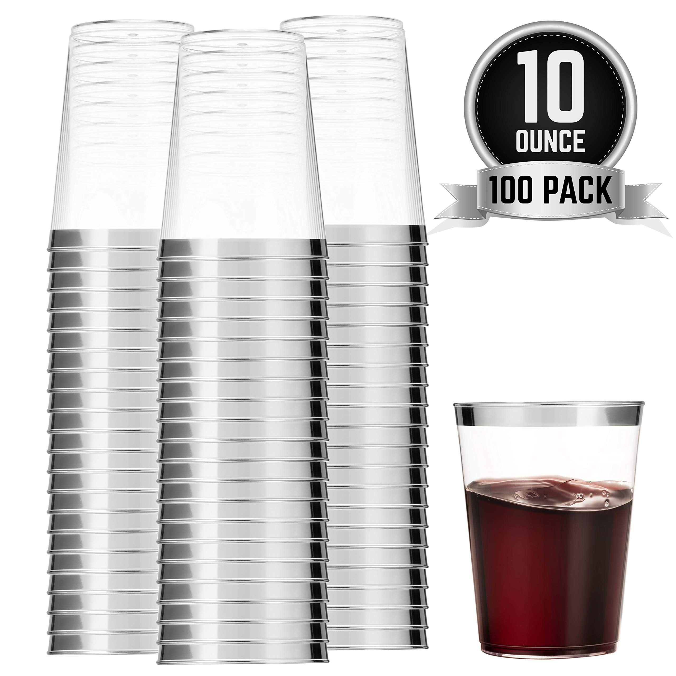100 Silver Plastic Cups 10 Oz Clear Plastic Cups Tumblers Silver Rimmed Cups Fancy Disposable Wedding Cups Elegant Party Cups with Silver Rim