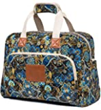 Malirona Canvas Overnight Bag Women Weekender Bag Carry On Travel Duffel Bag Floral (Black Flower)