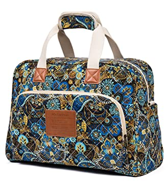 Malirona Canvas Overnight Bag Women Weekender Bag Carry On Travel Duffel  Bag Floral (Black Flower) 27b5968f39ef6
