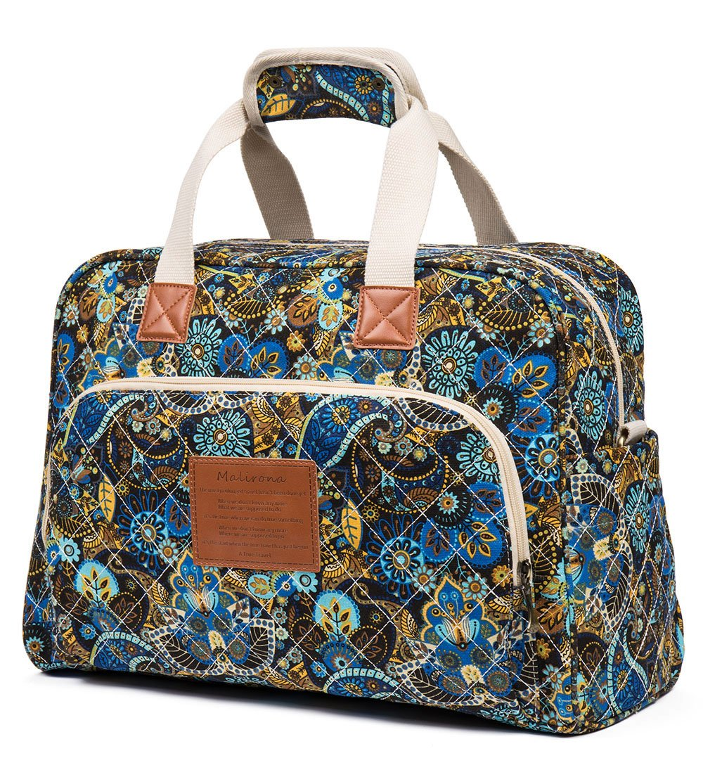 Malirona Canvas Overnight Bag Women Weekender Bag Carry On Travel Duffel Bag Floral (Black Flower) by Malirona (Image #1)