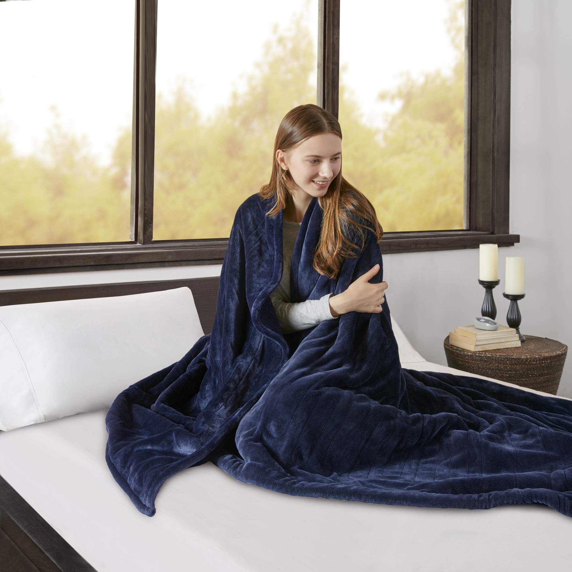 Beautyrest Elect Electric Blanket with Two 20 Heat Level Setting Controllers, King, Indigo Blue