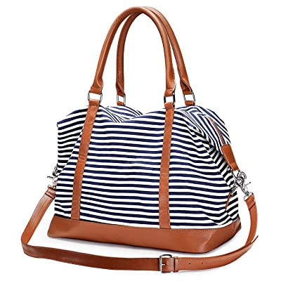 S-ZONE Women Travel Tote Canvas Weekender Bag Carryon Shoulder Duffel PU Leather Purse