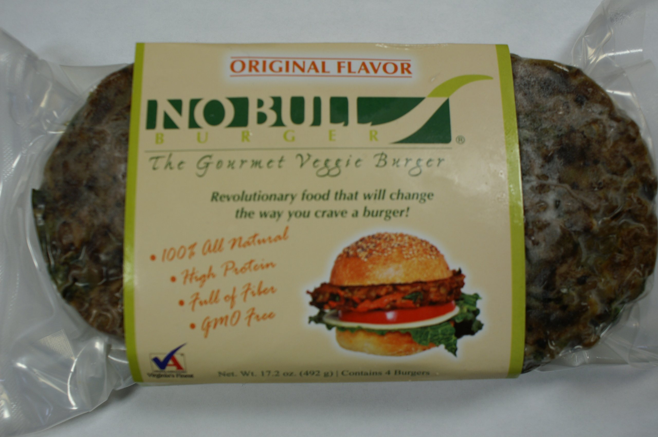 No Bull Gourmet Veggie Burger Original 24 Cooked & Frozen Burgers -12 - 2 packs - 1/4 pound per burger - All Natural & Organic -GMO Free Simply Heat & Serve