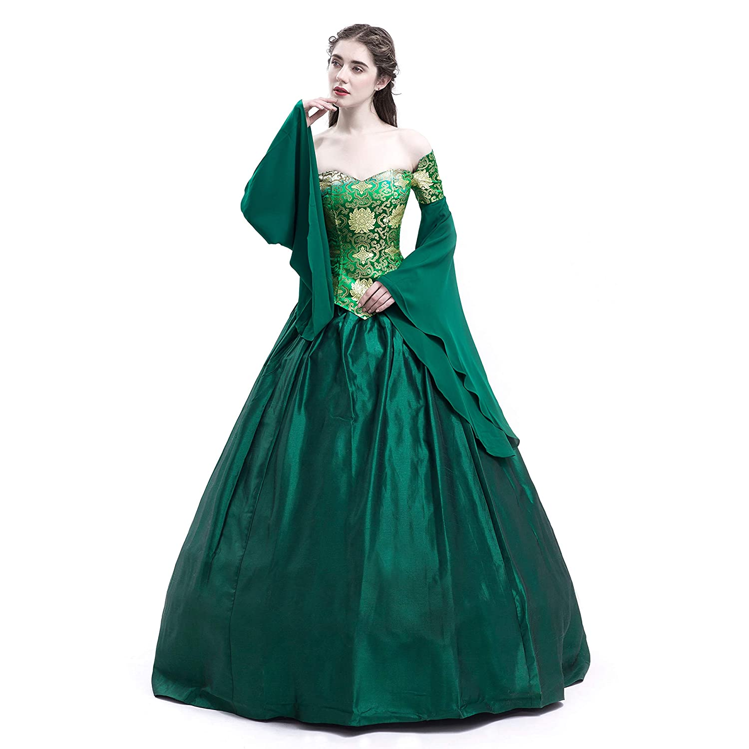Renaissance Wedding Dress.D Roseblooming Green Vintage Renaissance Wedding Dress Gothic