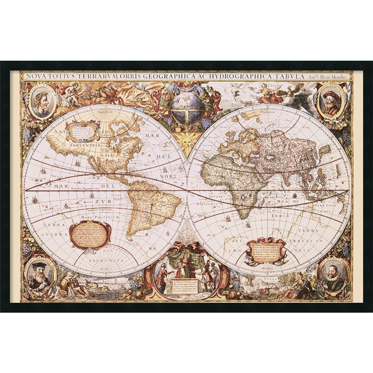 (White,Brown,Yellow) - Map Of The World Framed Print by Henricus Hondius  ホワイト B007DG900U