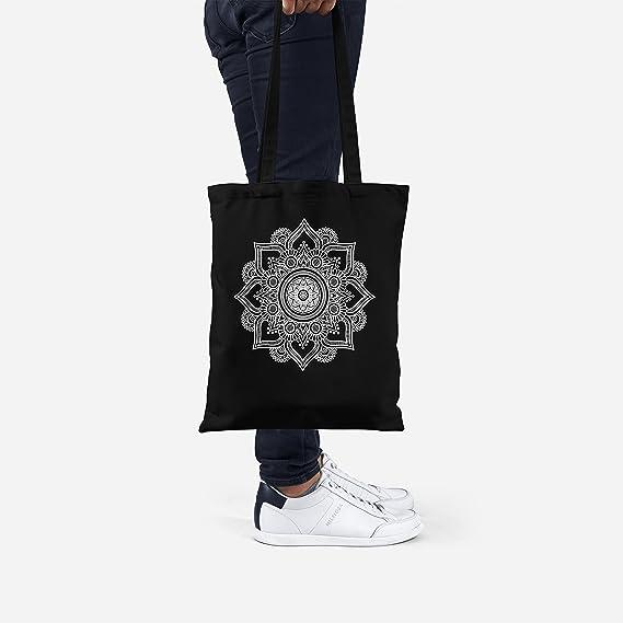 3567ec171 LaMAGLIERIA Bolsa de Tela Mandala White Print Man01 - Tote Bag Shopping Bag  100% algodón, Negro: Amazon.es: Hogar