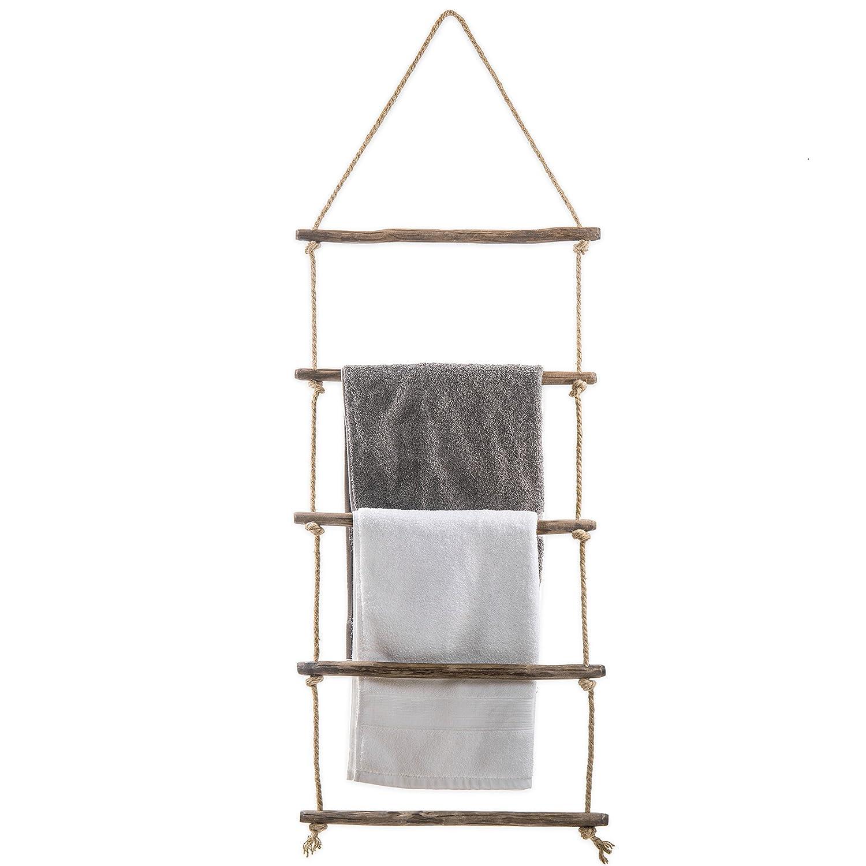 MyGift 4-foot Wall-Hanging Natural Wood & Rope Ladder Towel Rack