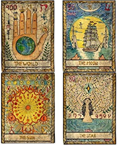 ZeeDix 4 Pcs Tarot Flag Tapestry- Small Tarot Card Europe Mysterious Medieval Tapestry, The World, The Sun, The Moon, The Star Astrology Divination Tapestry for Home Room with Seamless Nails
