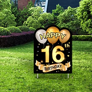 Yangmics Direct 16th Birthday 2004 - Outdoor Lawn Sign - Yard Sign - 1 Piece -Black Gold