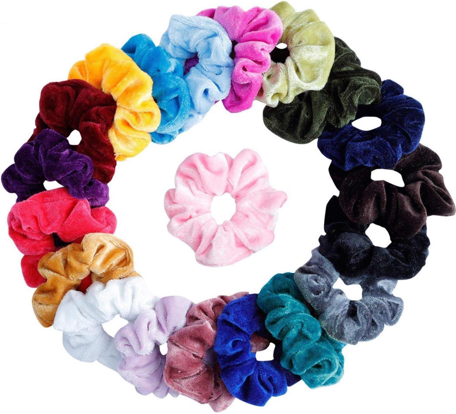 Rose Jersey Chouchou Cheveux Bande élastique pompon Femmes Filles Neuf