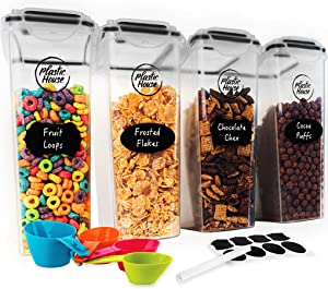 PLASTIC HOUSE Large Cereal Containers Storage Set Dispenser Approx. 4L FITS FULL STANDARD SIZE CEREAL BOX, Airtight Cereal Container Set For Maximum Freshness, BPA-FREE Large Cereal Storage Container
