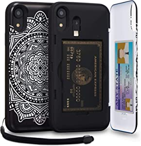 TORU CX PRO Compatible with iPhone Xr Case - Protective Dual Layer Wallet with Hidden Card Holder + ID Card Slot Hard Cover, Strap, Mirror & Lightning Adapter - Dreamcatcher