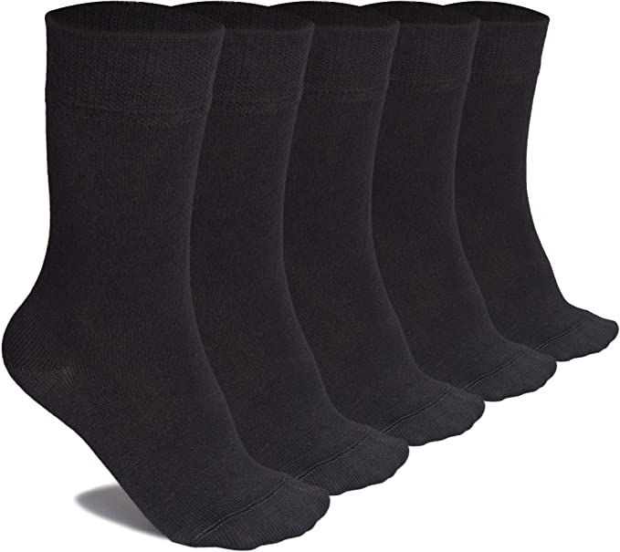 Crew School Socks for Girls /& Boys Comfort Seam Hugh Ugoli Kids Bamboo School Socks 5 Pairs Years : 3-5//6-8//9-11//12-14