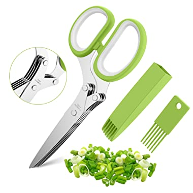 Herb Scissors Set with 5 Multi Stainless Steel Blades, Safe Cover and Cleaning Comb, Multipurpose Kitchen Chopping Shear, Mincer, Sharp Dishwasher Safe Kitchen Gadget, Culinary Cutter Chopper, Green