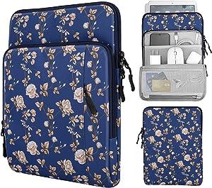 MoKo 9-11 Inch Tablet Sleeve Bag Carrying Case with Storage Pockets Fits iPad Pro 11 2021/2020/2018, iPad 8th 7th Generation 10.2, iPad Air 4 10.9, iPad 9.7, Galaxy Tab A 10.1 - Blue Flowers