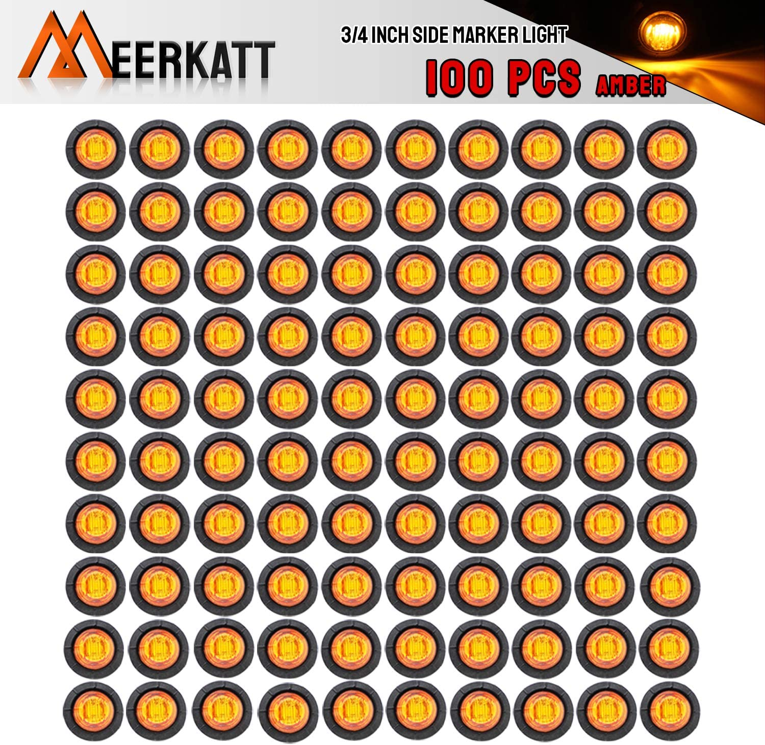 Meerkatt 3//4 Inch Mini Small Round Clear Lens Amber LED Button Clearance Lamp Universal Side Marker Indicator Light Waterproof Marine Truck Bus Trailer Jeep RV Lorry Van 12V DC grommets Pack of 50