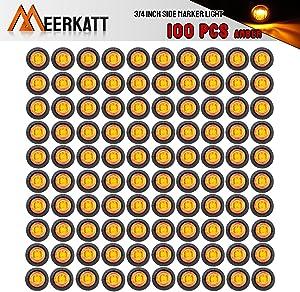 Meerkatt (Pack of 100) 3/4 Inch Mini Round Amber LED Indicator Signal Extra Bright Light Clearance Lamp Bullet Side Marker Truck Caravan Pickup Trailer RV Boat Grommets 12V DC Waterproof