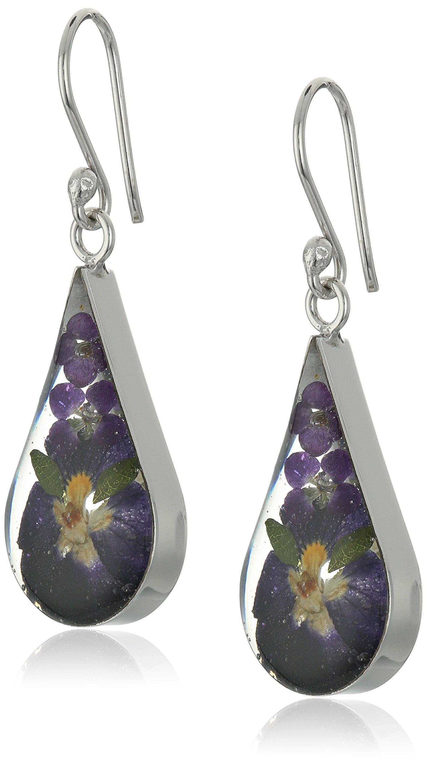 Sterling Silver Pressed Flower Purple Teardrop Earrings, 18''