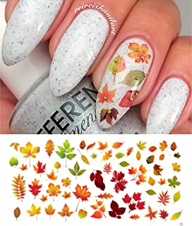 autumn fall leaves water slide nail art decals set 2 salon quality 55