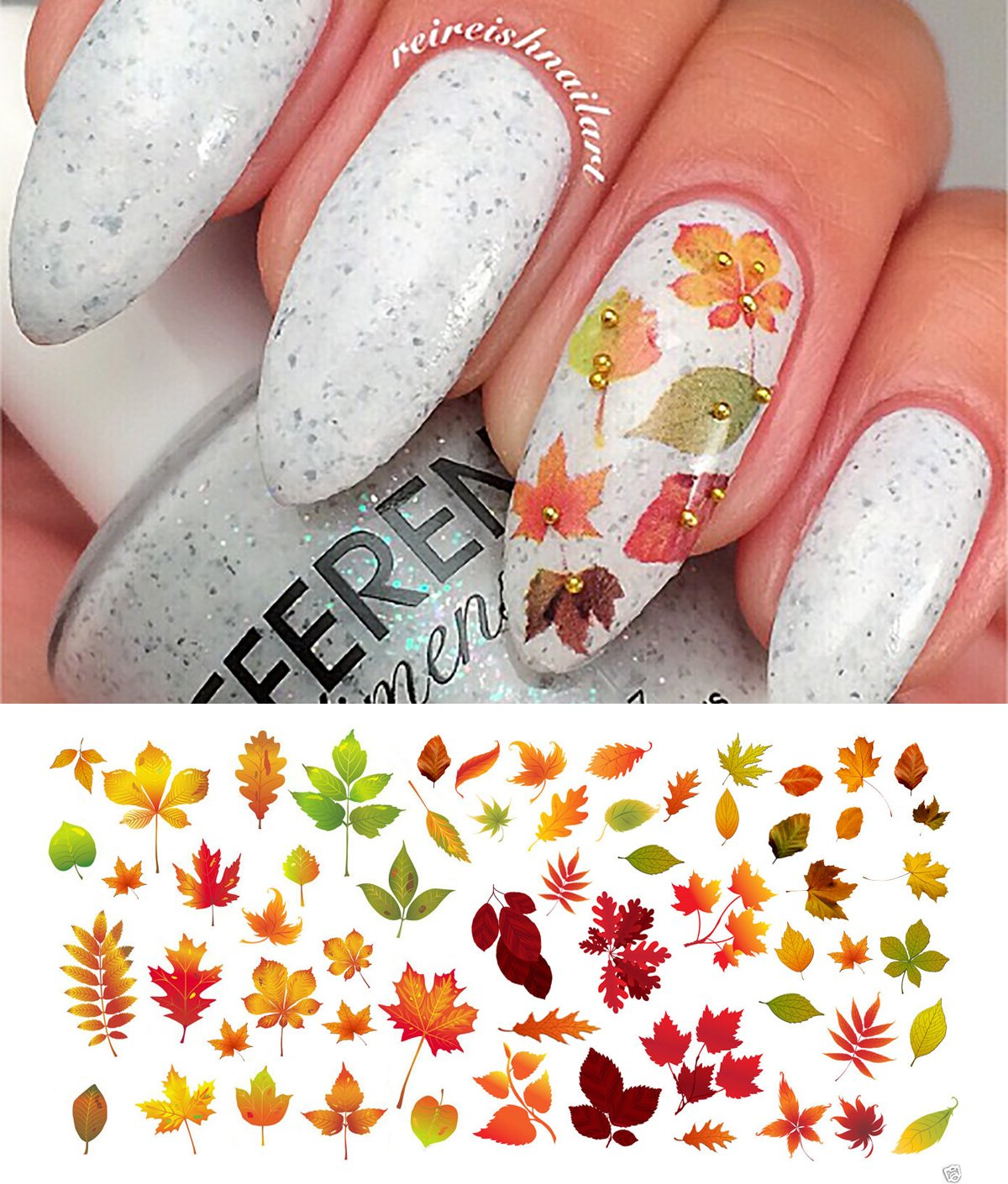 Amazon.com : Autumn Leaves Nail Art Water Slide Tattoo Sticker ...