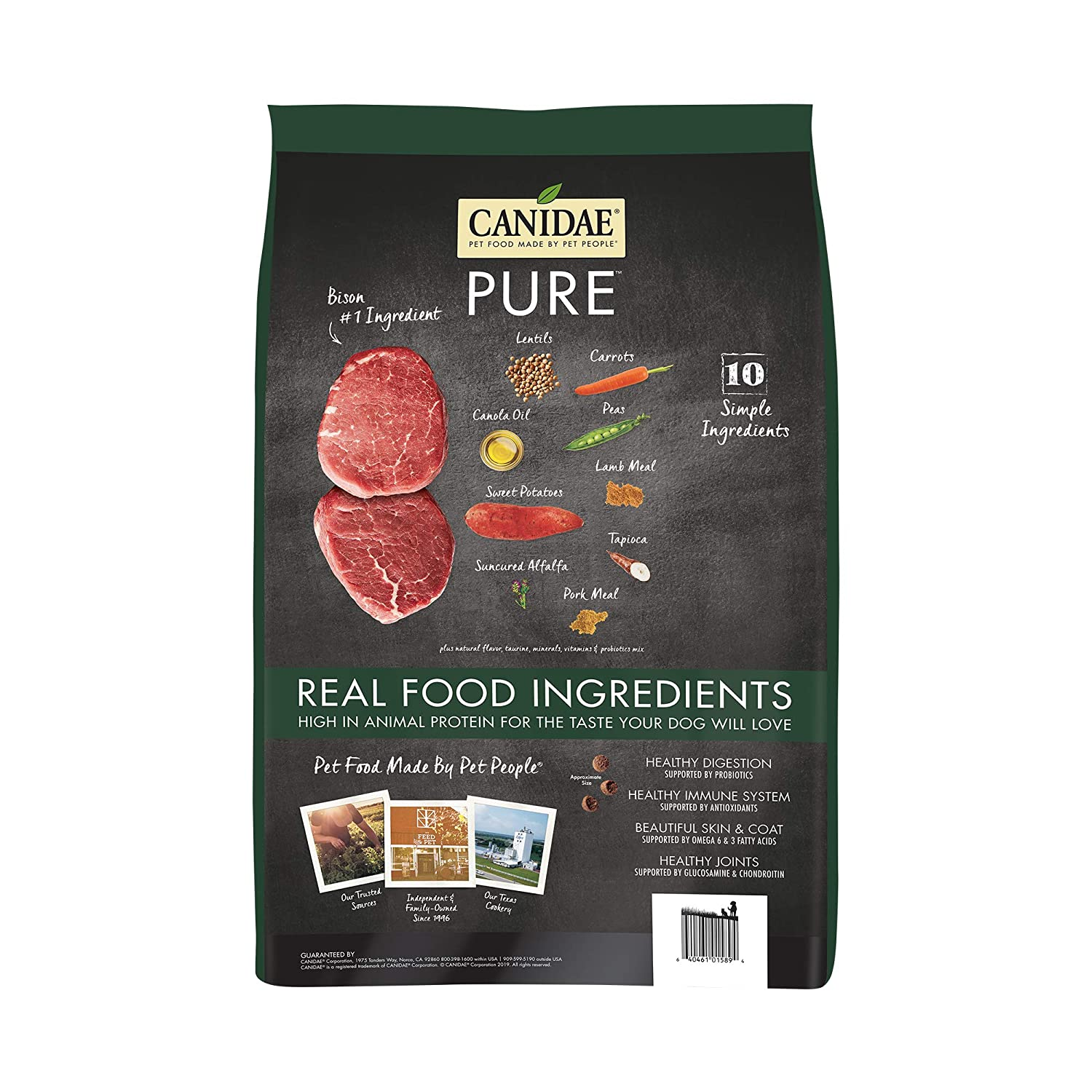 Amazon.com: CANIDAE PURE Real Bison, Lentil & Carrot Recipe Dry Dog Food 4 lbs: Pet Supplies