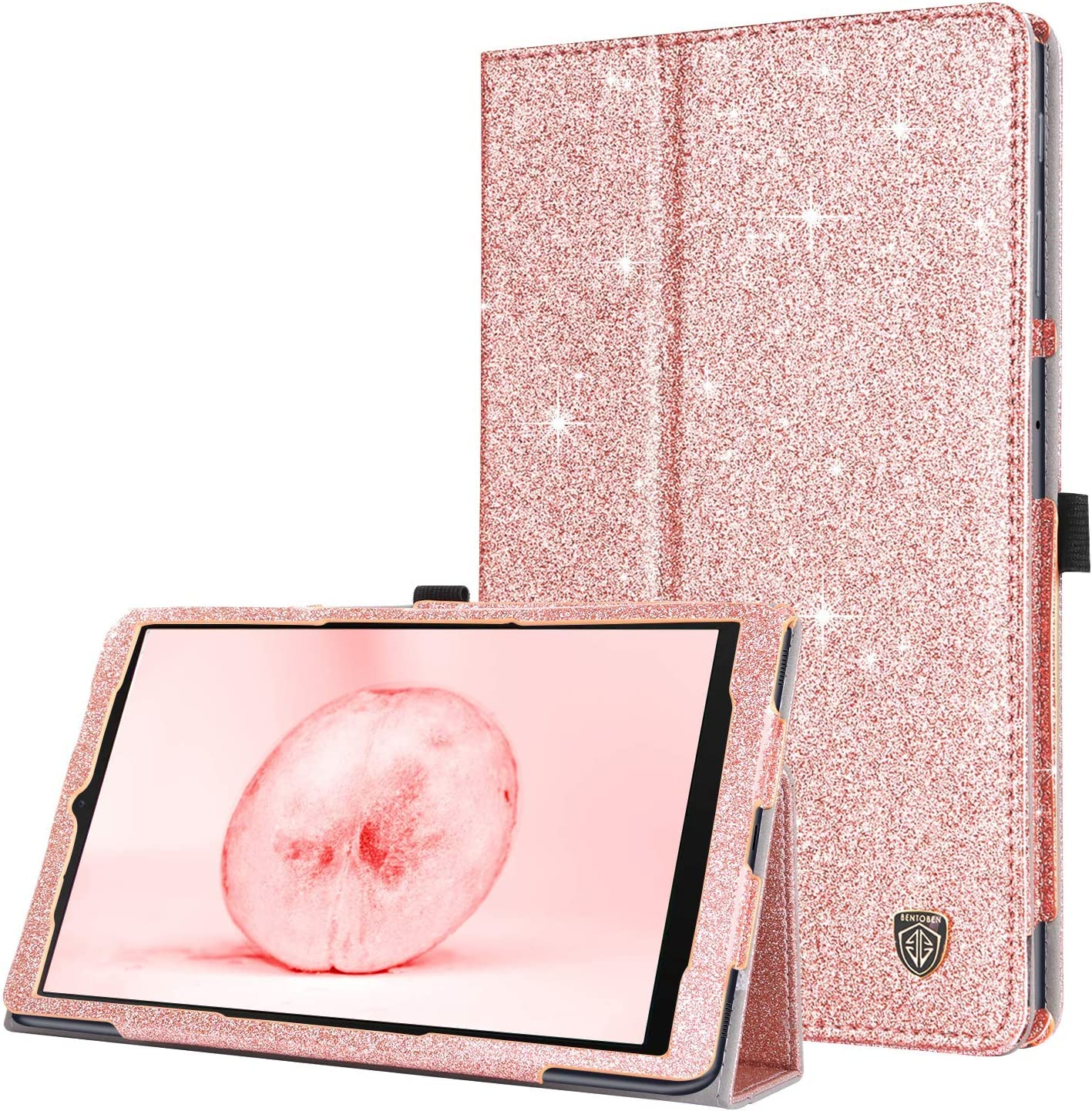 BENTOBEN Galaxy Tab A 10.1 2019 Case,Slim Glitter Shiny Sparkly PU Leather Stand Folding Folio Shockproof Protective Tablet Case for Samsung Galaxy Tab A 10.1 Inch SM-T510/T515 2019 Release, Rose Gold