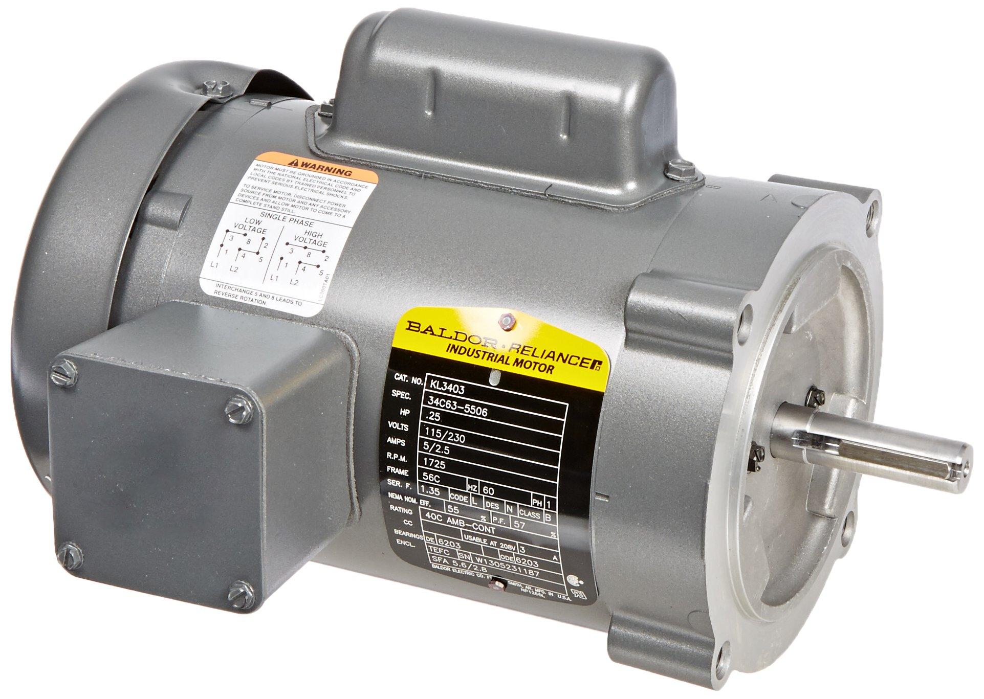 Baldor KL3403 General Purpose AC Motor, Single Phase, 56C Frame, TEFC Enclosure, 1/4Hp Output, 1725rpm, 60Hz, 115/230V Voltage