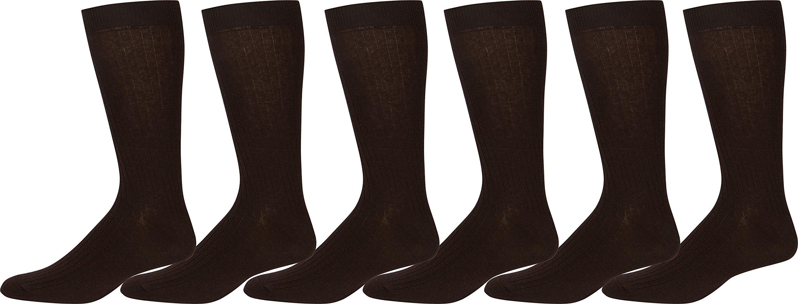 Sakkas Men's Cotton Blend Ribbed Dress Socks, 10-13 - Brown 6 Pack