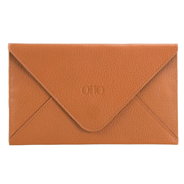 OTTO en cuir véritable embrayage et porte-carte de crédit - enveloppe-Style Portefeuille de voyage avec magnétique fermoir - ID, Smartphone - Blocage des Signaux RFID (Marron foncé)