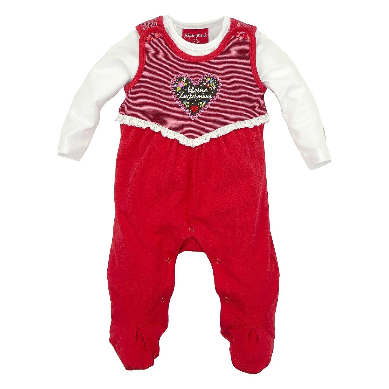85608 BONDI Baby M/ädchen Trachten-Strampler-Set ALPENGL/ÜCK in rot Artikel-Nr