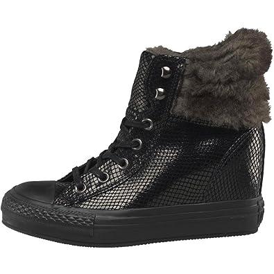 1b1714ee01b2 Converse Ladies Hi Platform Plus Faux Fur Collar Leather Trainers   Amazon.co.uk  Shoes   Bags