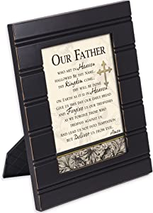 Cottage Garden The Lords Prayer Our Father Cross 8 x 10 Distressed Black Accent Picture Frame Plaque