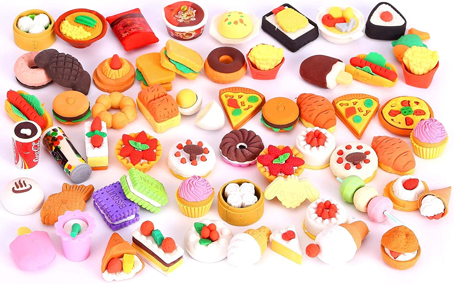 30 PCs Joanna ReidCollectible Set of Adorable Puzzle Sweet Dessert Food Cake Erasers for Kids - No Duplicates - Puzzle Toys Best for Party Favors-Treasure Box Items for Classroom