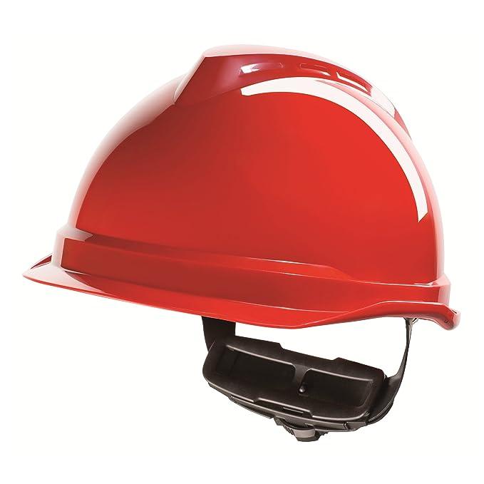 Casco de Protección MSA V-Gard 520 con Ajuste por Trinquete FasTrack - Casco de Trabajo Casco de Seguridad Casco de Construcción, Color: Rojo: Amazon.es: ...