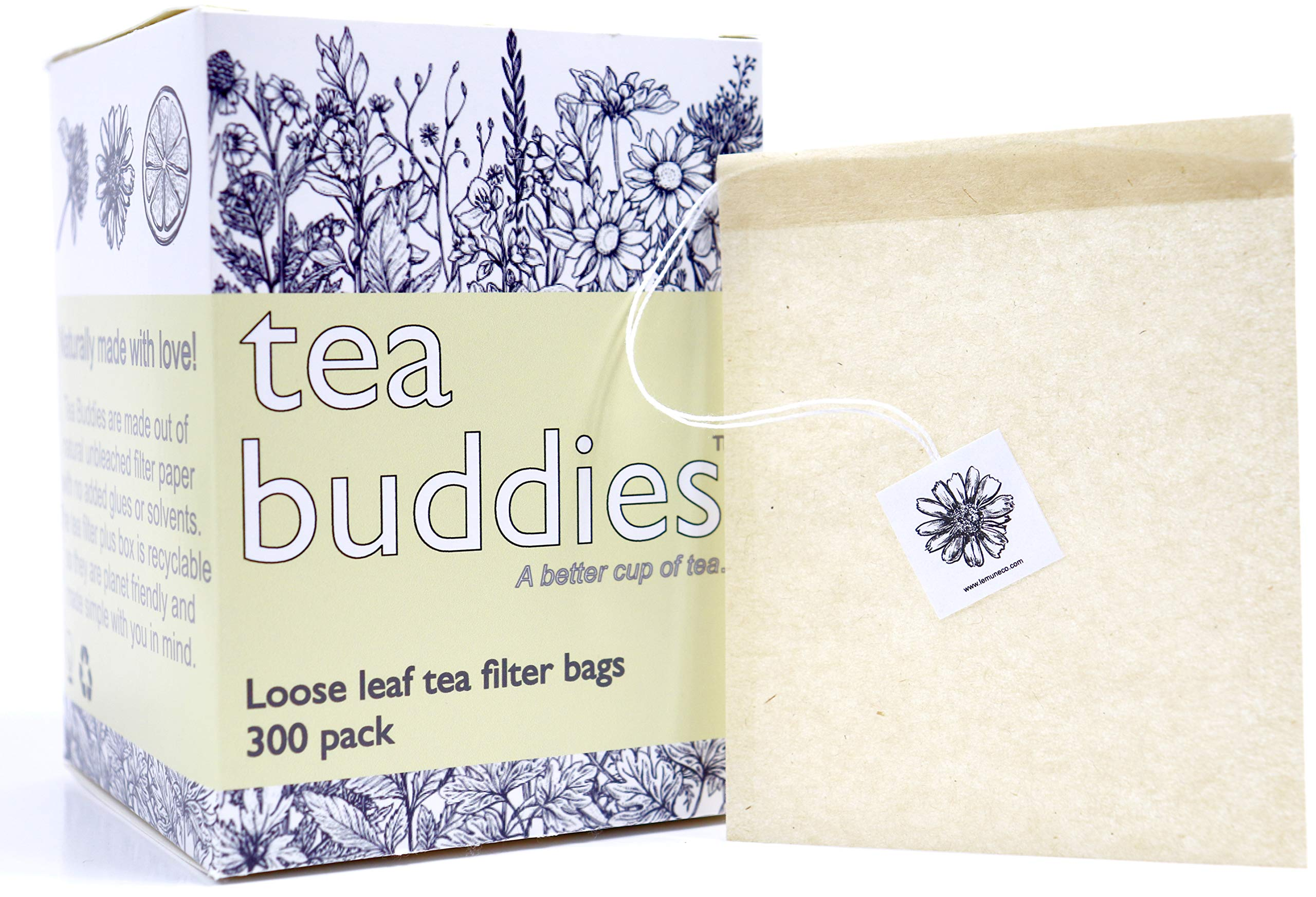 Tea Buddies Loose Tea Filter Bags, Eco-Friendly Disposable Tea Infuser with Drawstring - Fill Your Own Empty Loose Tea Bags - Bonus Free Recipes! by Tea Buddies