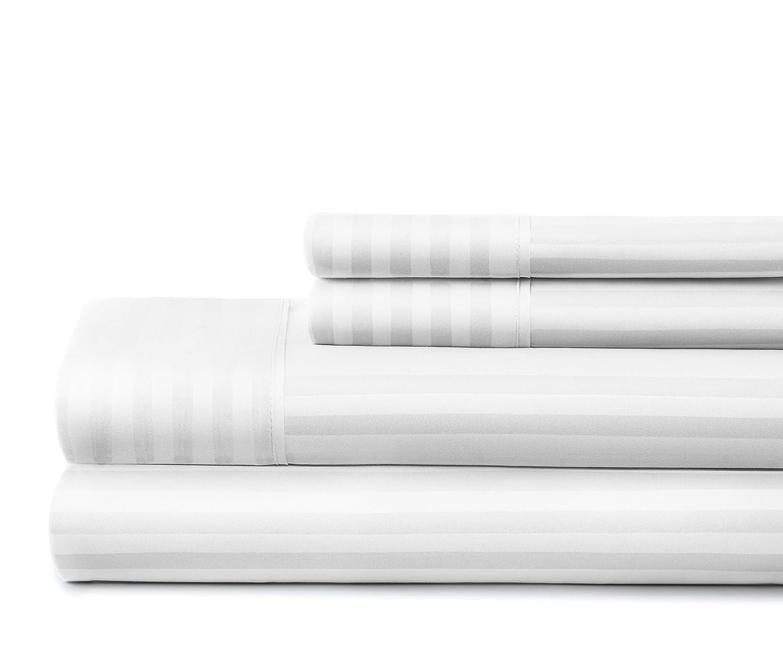 ienjoy Hotel Collection Embossed Dobby Stripe 4 Piece Sheet Set Queen White ienjoy Home BLL-STRIPE-QUEEN-WHITE