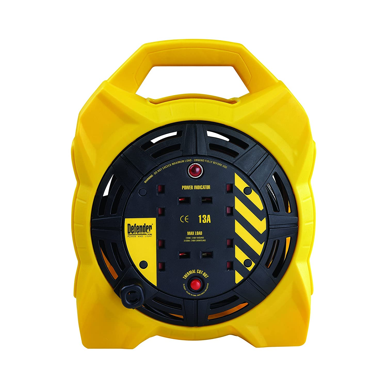 Defender E86545 15M Box Reel-13A 4 Way 1.25mm 240v, 230 V, Yellow