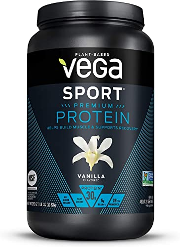 Vega Sport Premium Protein, Vanilla 20 Servings, 29.2 Ounce – Plant-Based Vegan Protein Powder, BCAAs, Amino Acid, tart cherry, Non Whey, Gluten Free, Non GMO Packaging May Vary , Large Tub