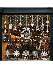 Wokkol Snowflake Window Stickers, Christmas Window Stickers Reusable Christmas Window Clings, Window Snowflake Decorations Two Styles Makes the Home Full of Christmas Atmosphere(8 PCS -2 Styles)