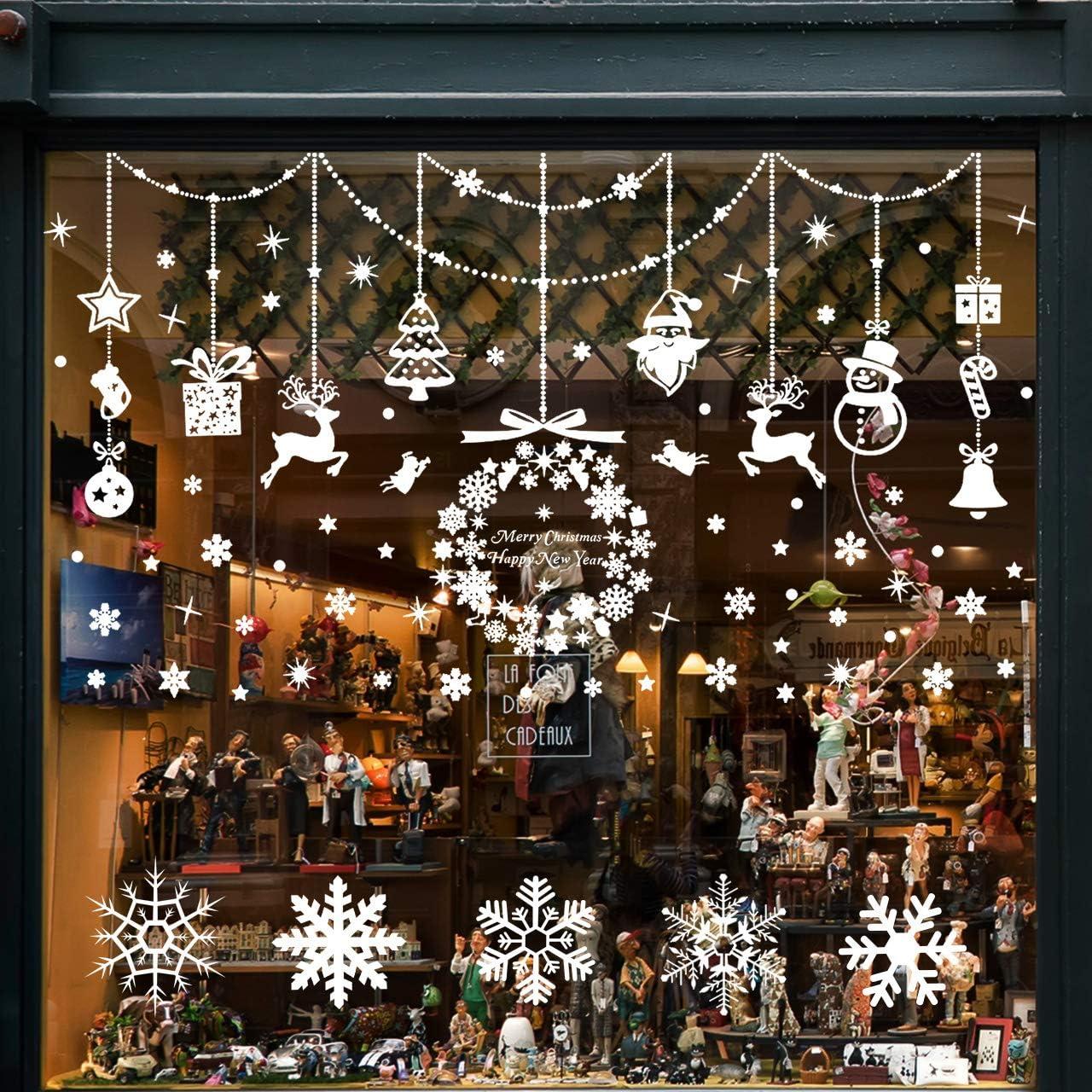 Pegatinas de Navidad, Wokkol Pegatinas de Navidad para Ventanas Pegatinas de Navidad Monigote de Nieve Fiesta extraíbles, Hacen Que el Hogar esté Lleno de Ambiente Navideño(8 PCS -2 Styles)