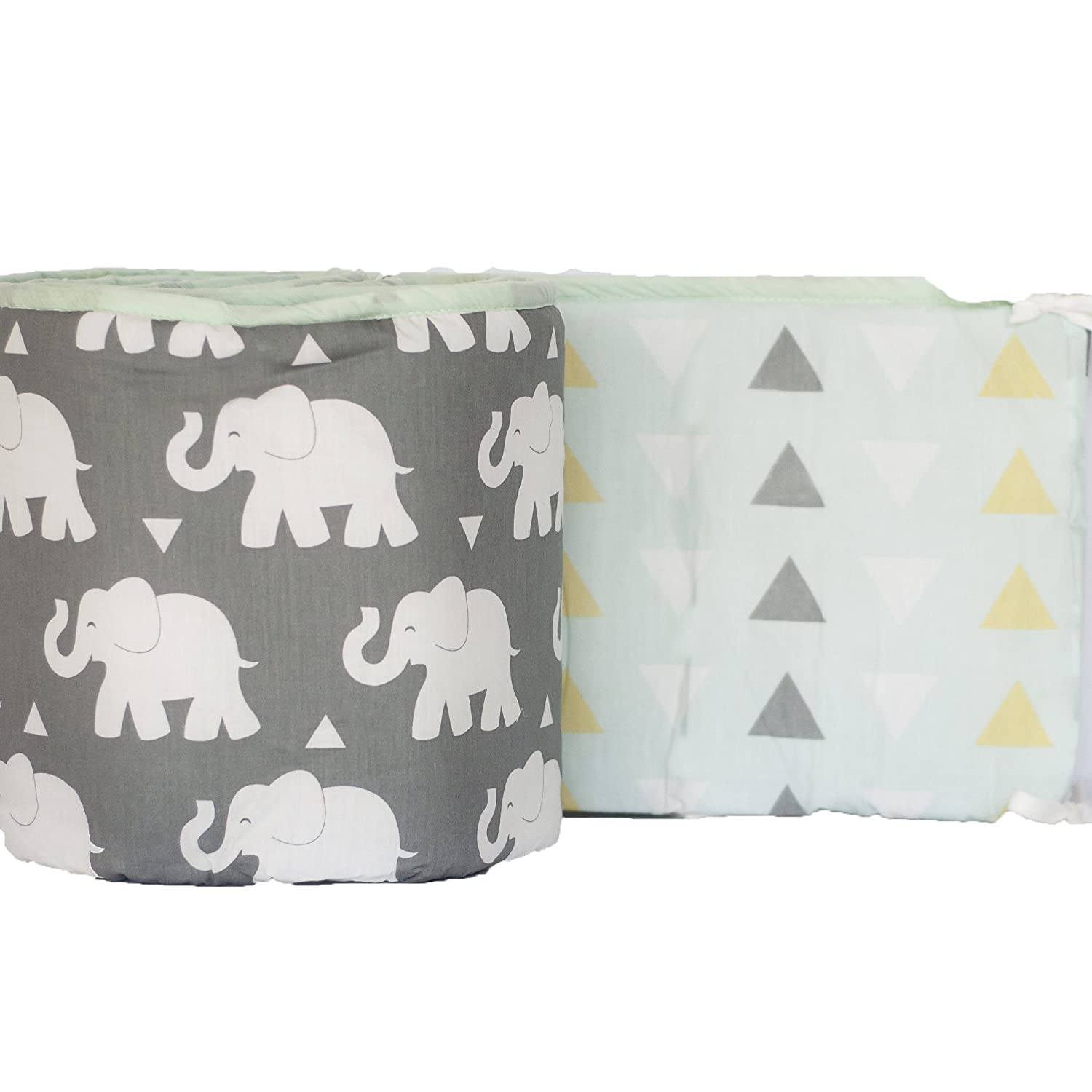 Pam Grace Creations Indie Elephant Crib Bumper, Grey/White/Mint BP-ELEPHANT