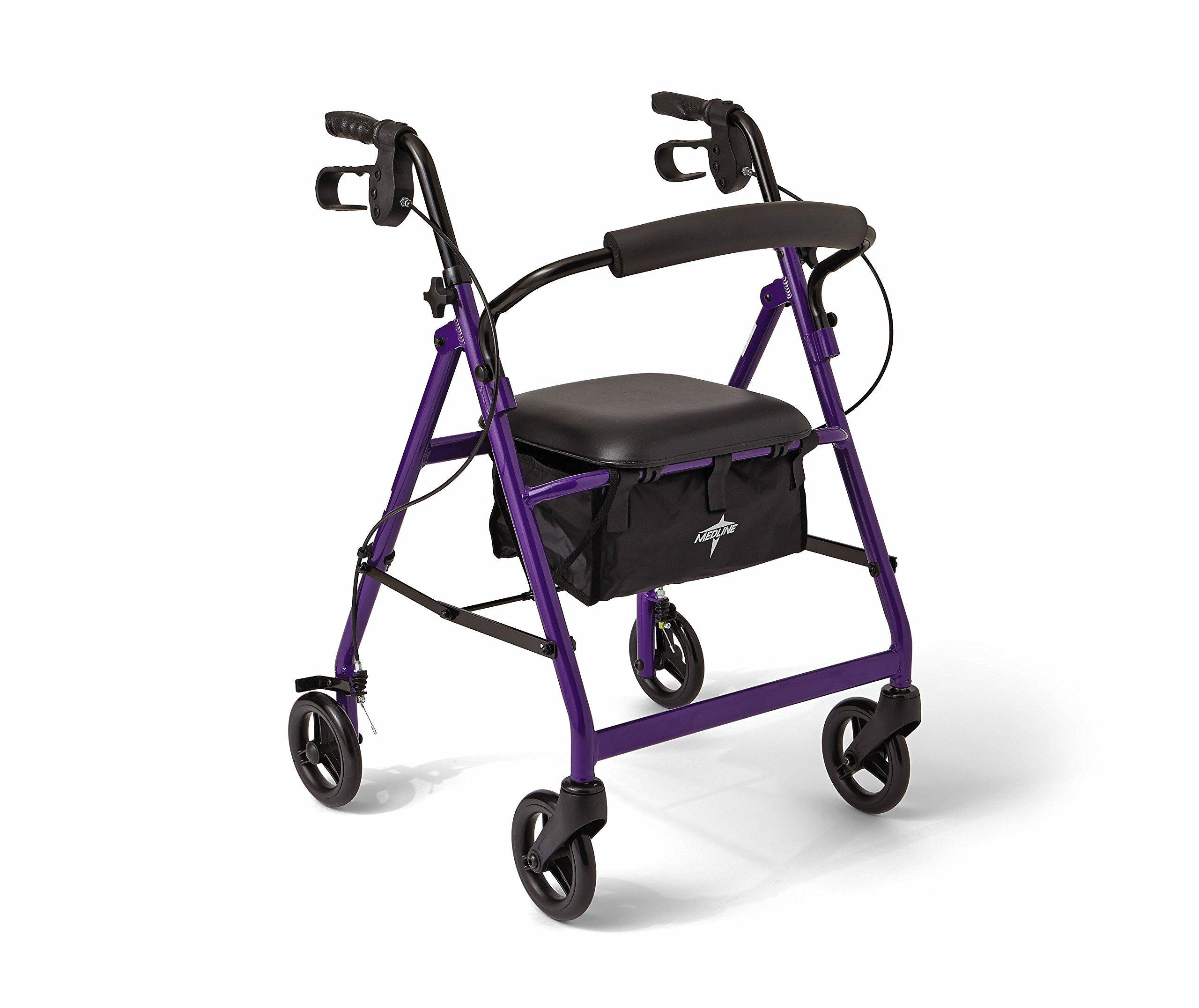 Medline Aluminum Rollator Walker with Seat, Folding Mobility Rolling Walker has 6 inch Wheels, Purple by Medline