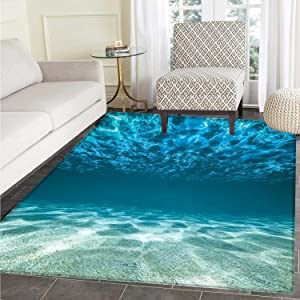 Ocean Floor Mat Pattern Gravelly Bottom Wavy Surface Tropical Seascape Abyss Underwater Sunny Day Image Living Dinning Room & Bedroom Rugs 5'x6' Blue Aqua Ivory
