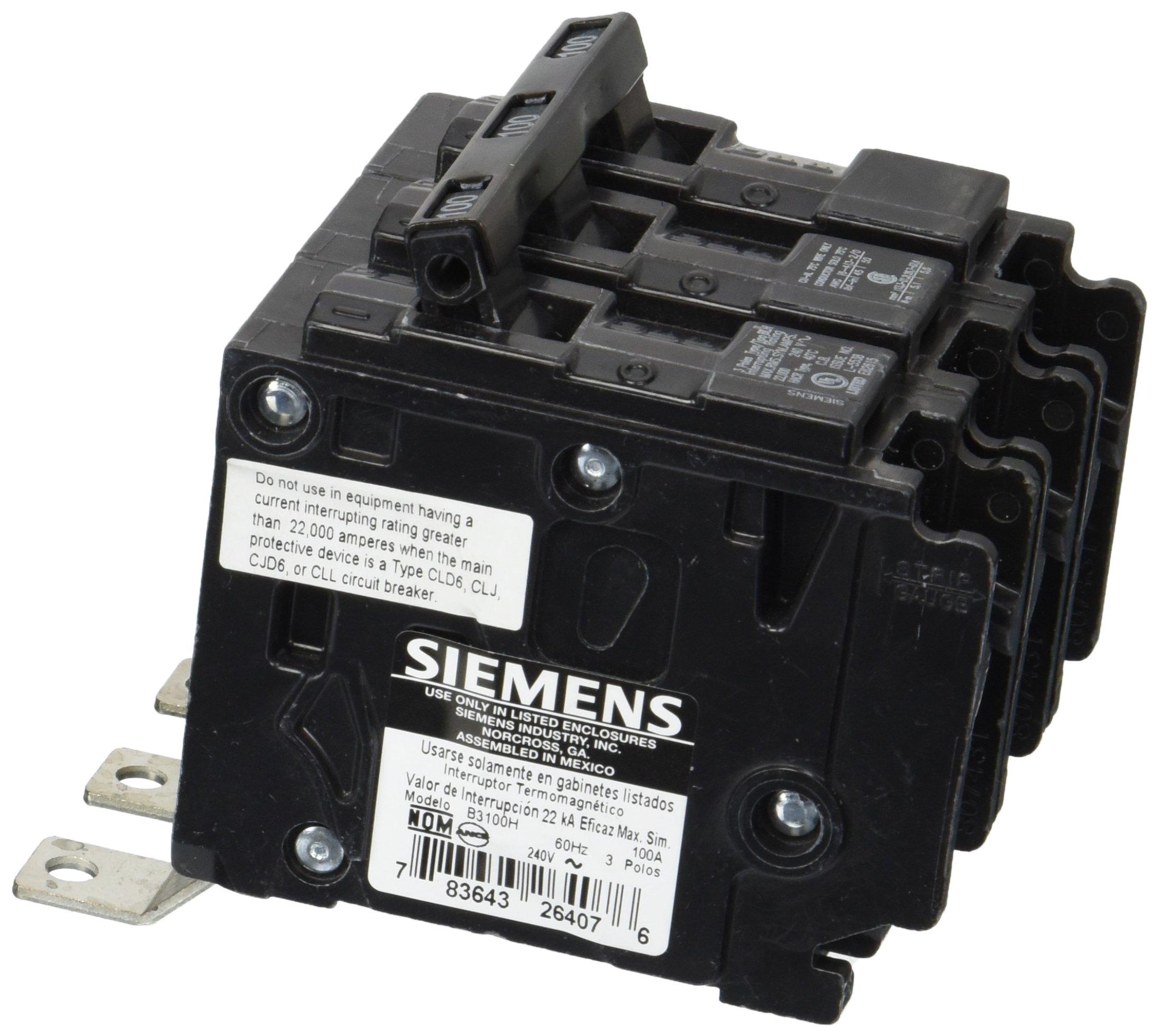 Siemens B3100H 100-Amp Three Pole 240-Volt 22KAIC Bolt in Breaker