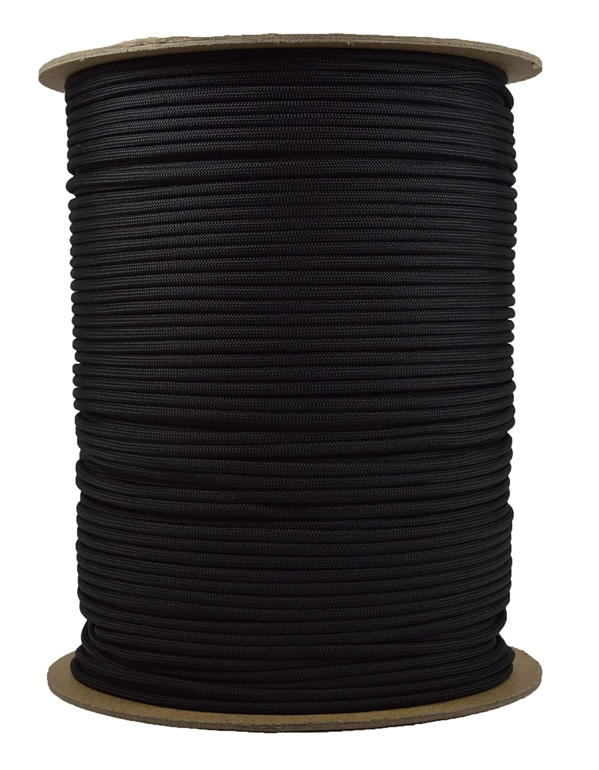 1000 Foot Spools of Parachute 550 Cord Type III 7 Strand Paracord Black Bored Paracord