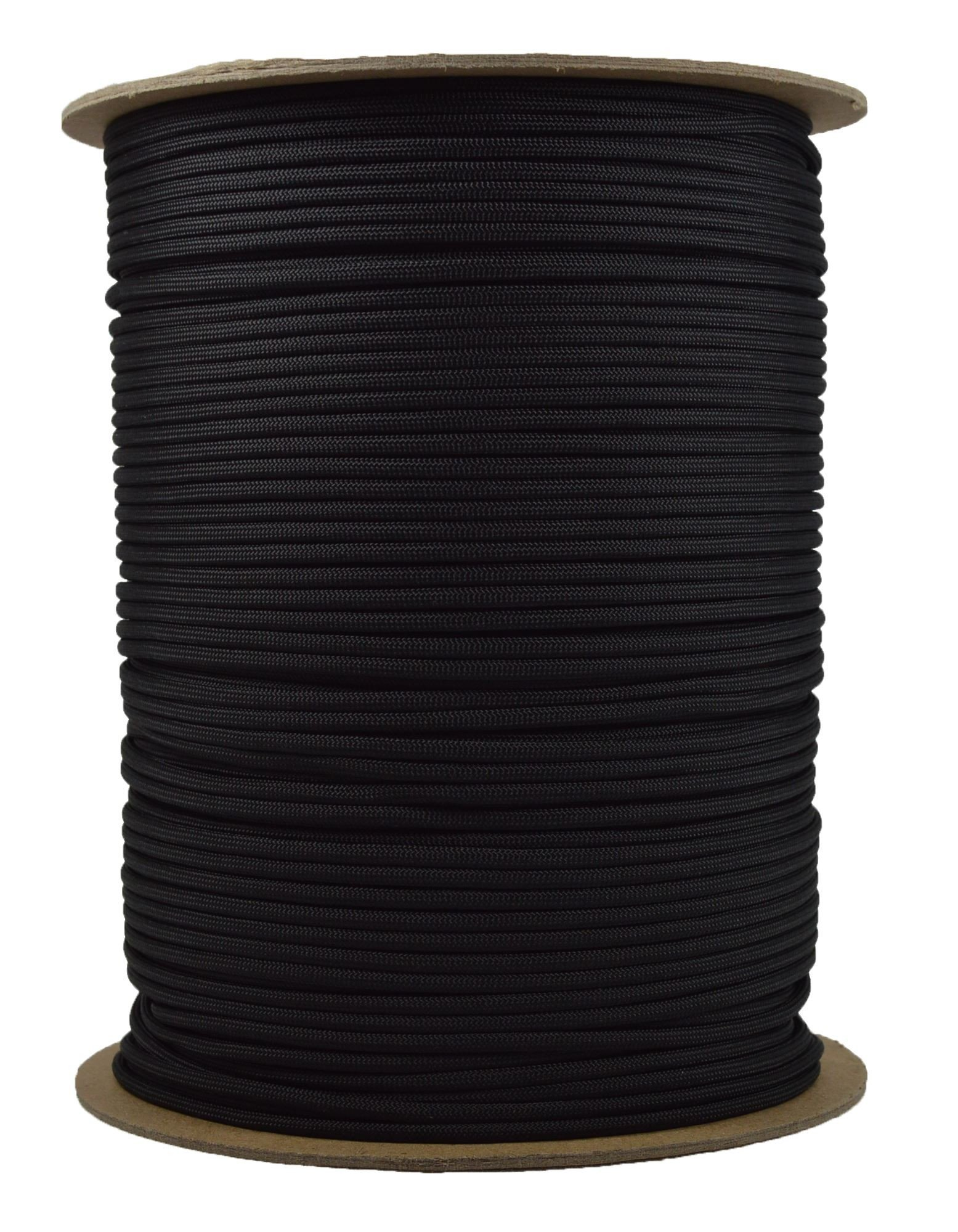 1000 Foot Spools of Parachute 550 Cord Type III 7 Strand Paracord Black