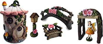 Deluxe Fairy Garden Set (7, Fairy House w/Pink Lily Roof)