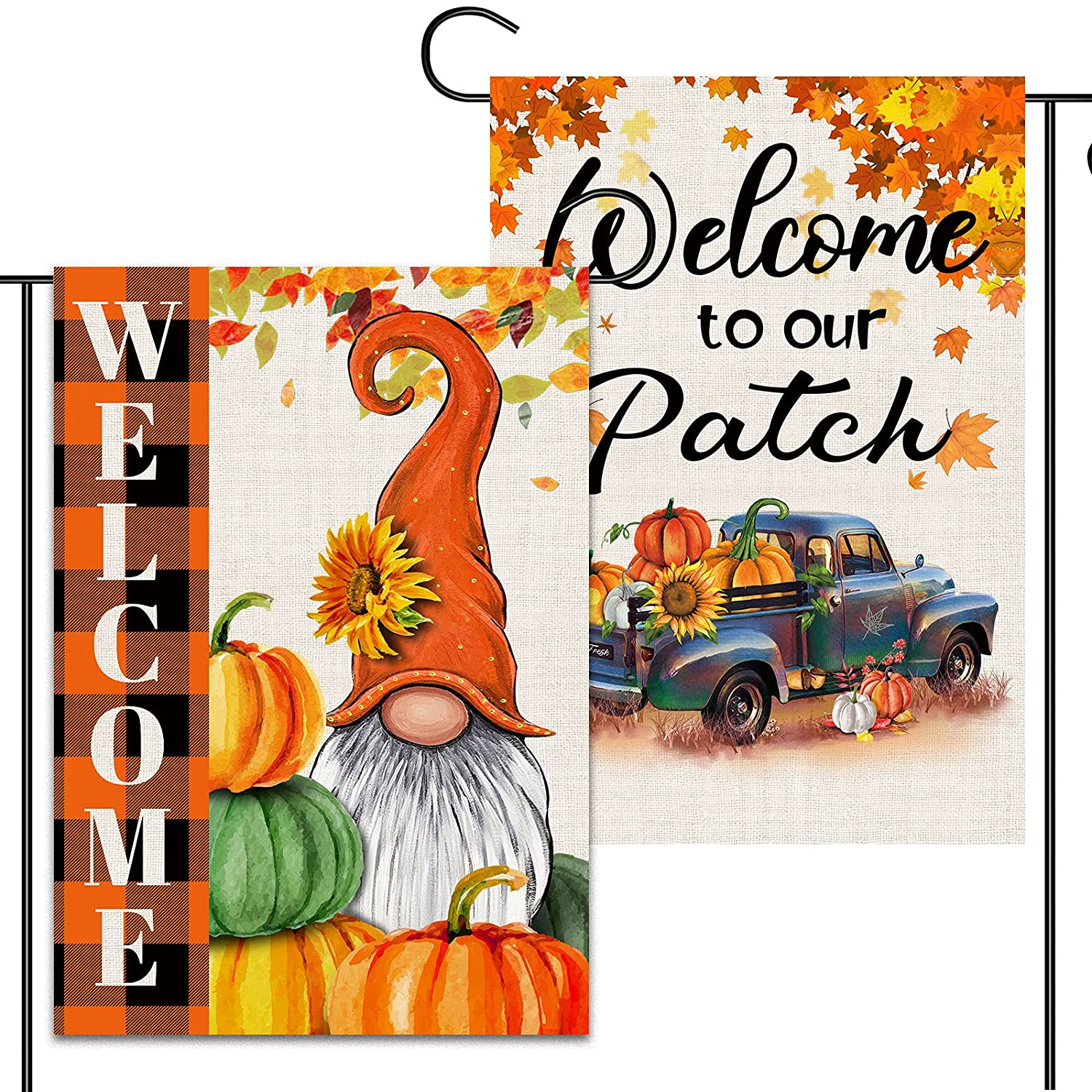 2 Pcs Harvest Fall Garden Flags 12x18 Double Sided, Burlap Pumpkin Truck And Buffalo Plaid Gnome Thanksgiving Garden Flags, Outdoor Yard Decors for Pumpkin Patch Welcome Sign