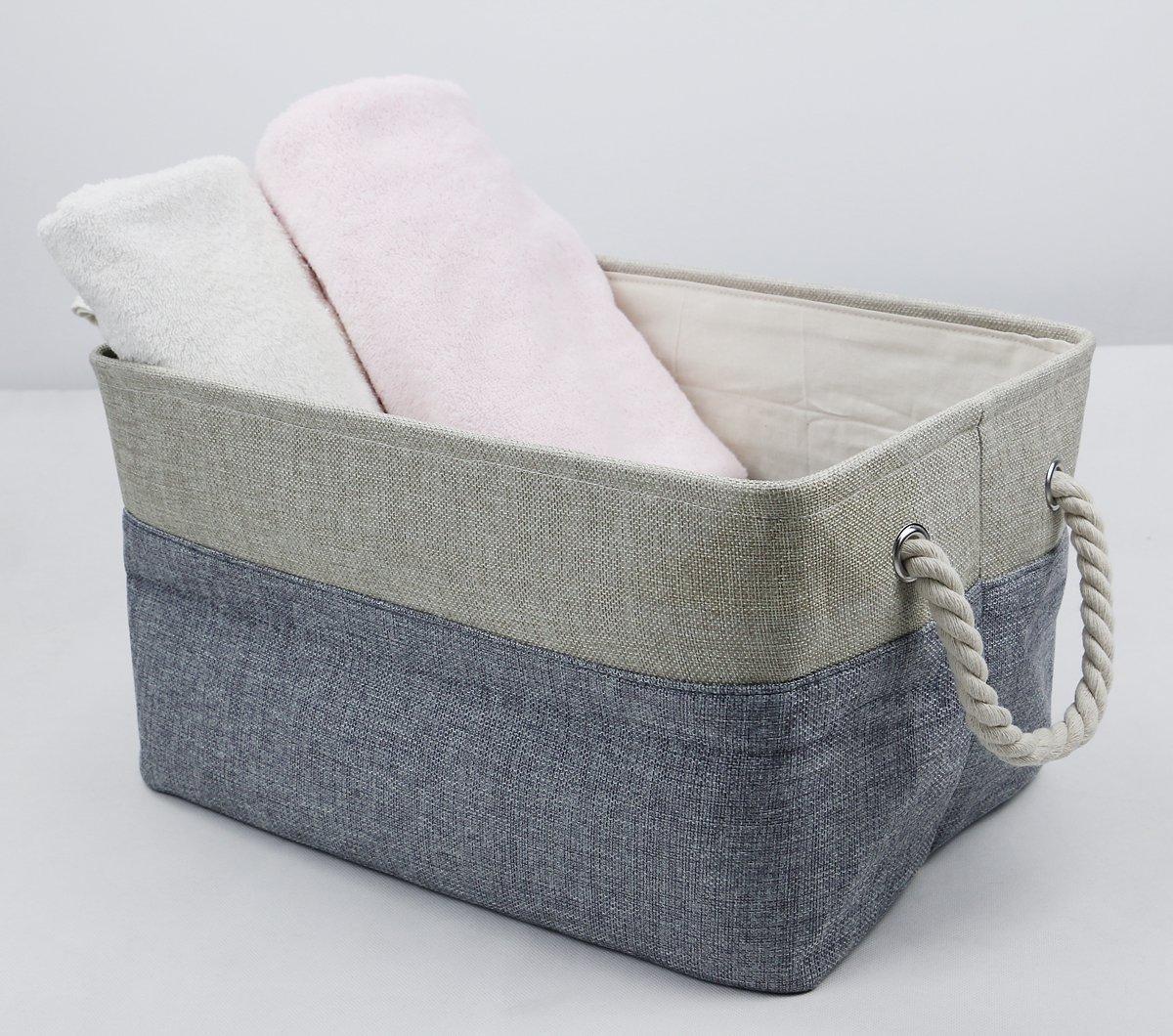 Natural de lino doblando cestas de almacenamiento con cierre de algodón para juguetes, organizador de paño, almacenamiento de libros, cubo de almacenamiento ...